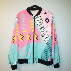 80s Patterned Neon Women's Bomber Jacket